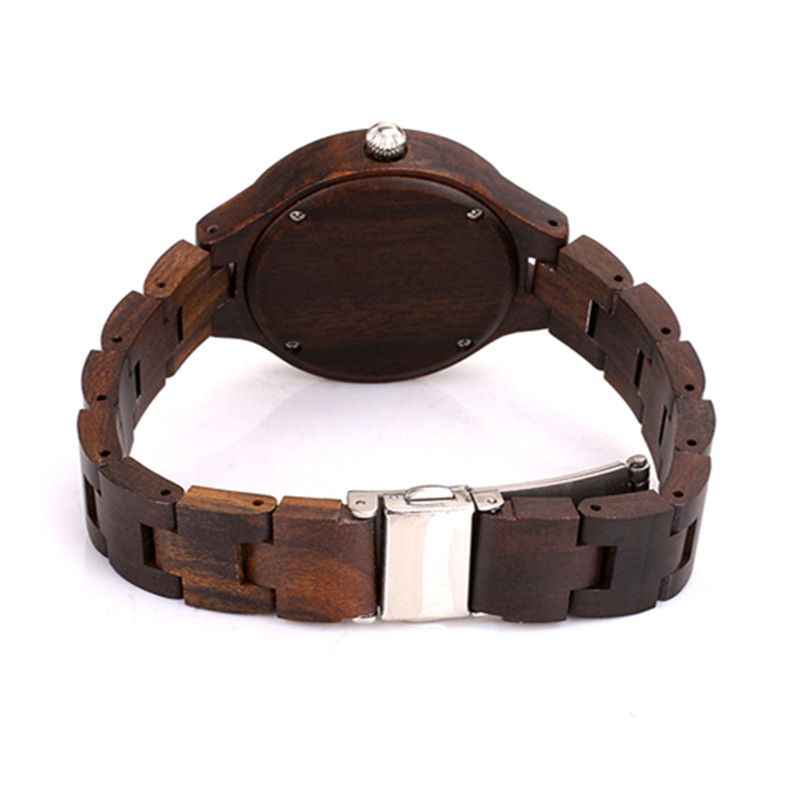 Handmade Custom Full Black  Wood Watch For Female Gifts New Year Gifs With Luxury Shell Face Best Christmas Gifts For Wife