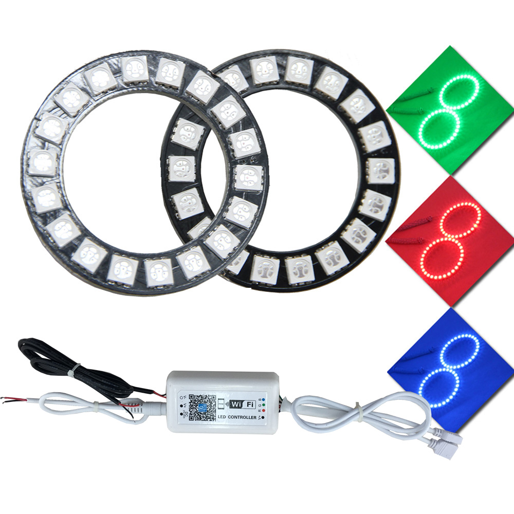 1 Pair 50mm LED Angel Eyes Headlight 12V RGB Halo Rings Wifi Control 5050 SMD Car LED Halo Accent Light Kit 4 90mm rgb led lights wholesale price led halo rings 12v 10000k angel eyes rgb led angel eyes for byd for chery for golf4