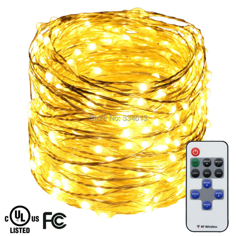 12M 39FT 240LEDs Silver Wire Warm White LED String Lights Holiday Starry Light Christmas Fairy Lights with Remote+ UL CE Adapter