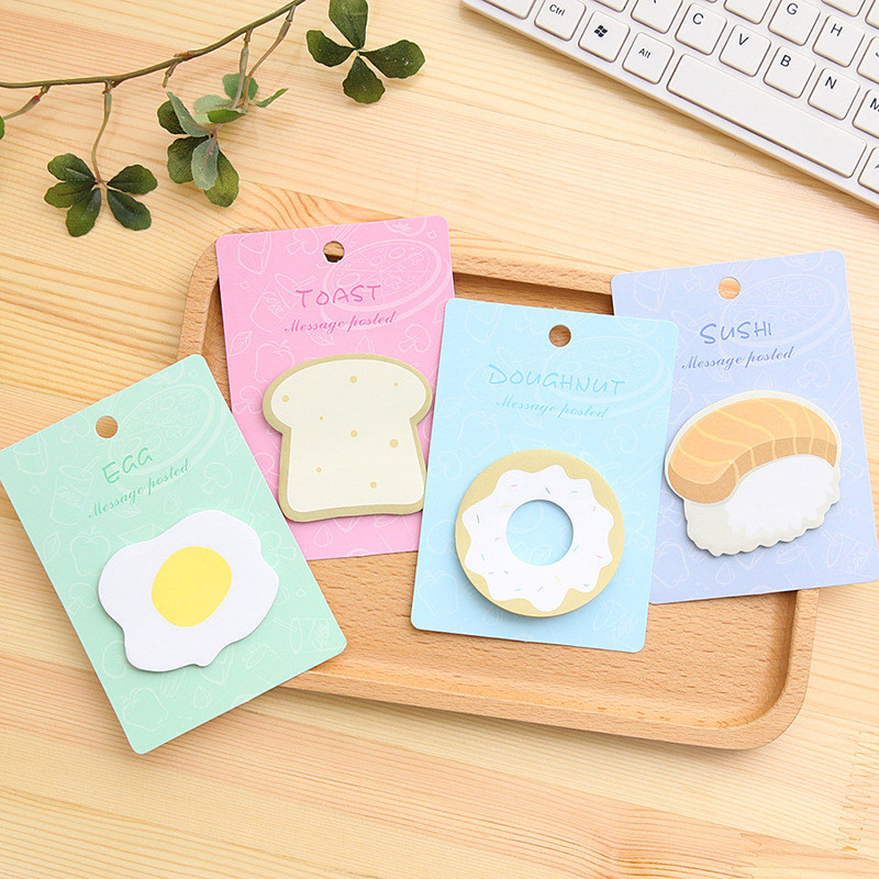 4Pcs Cute Kawaii Breakfast Food Stickers Sushi Egg Bread Memo Pads Stationery Store Post It Office Sticky Note Notepad Accessory