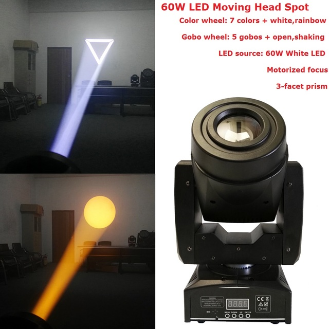 1 Pack Mini Spot 60w Led Moving Head Light With Gobos Plate Color