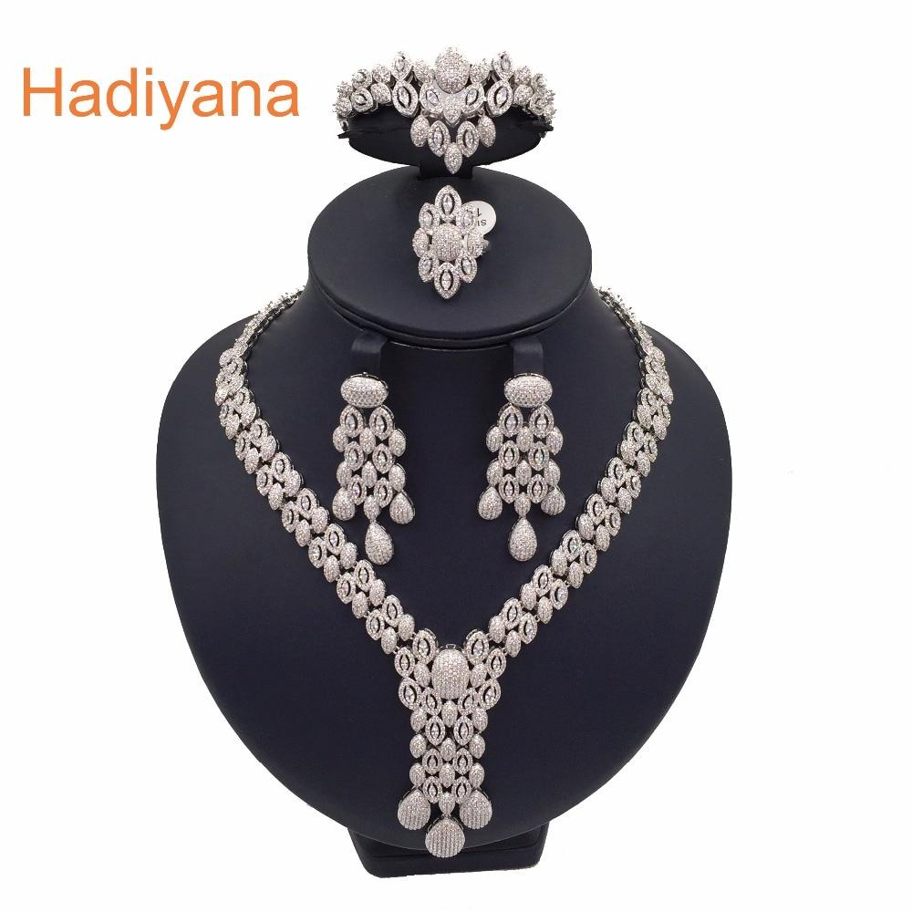 Hadiyana Luxury Sparkling Cubic Zircon Crystal 4pcs Jewelry Bridal Big Set For Women Wedding CN160