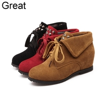 2015 New Arrival Big Size 34-43 Black Yellow Red  Lace Up Rivets Increased Mid Heel Wedges Spring Autumn Women Pumps X1213