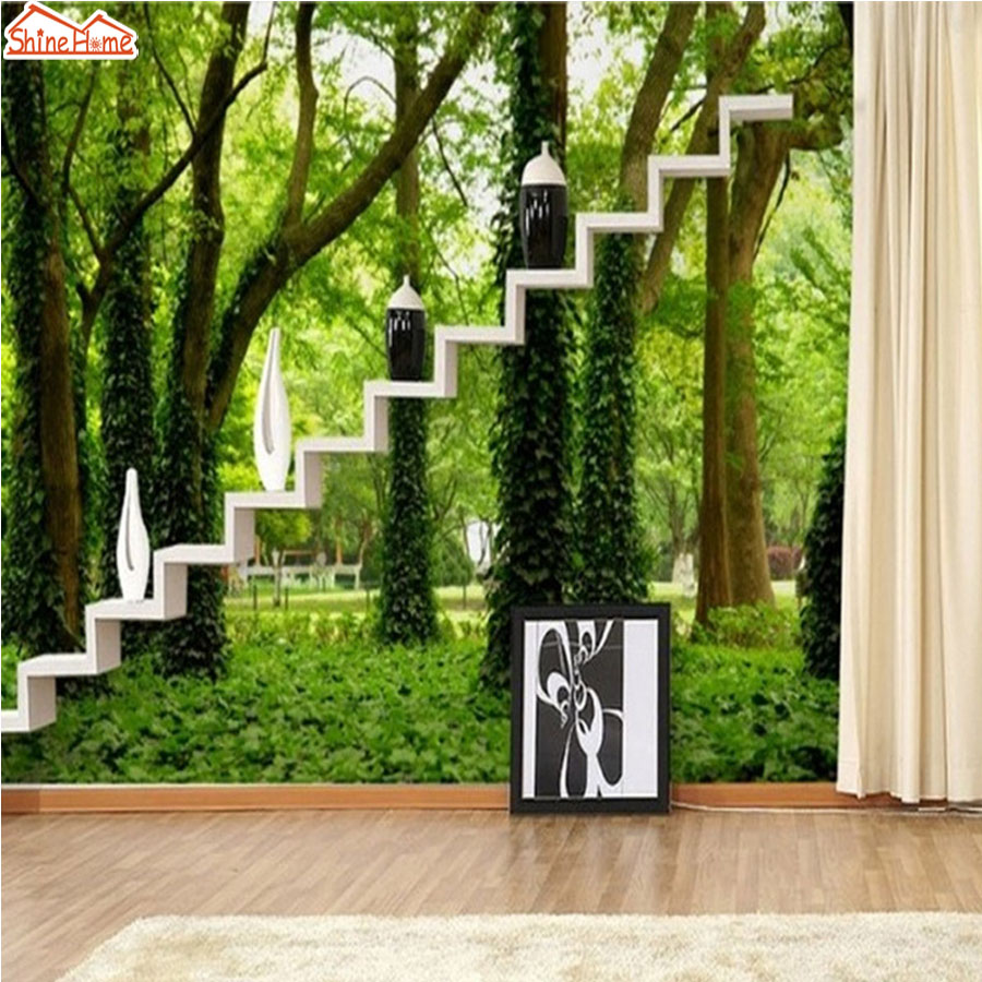 ShineHome-Trees Vine in Forest Green Natural Wallpaper Mural Rolls for Wall Paper Living Room Bedroom Building TV Background coloring of trees