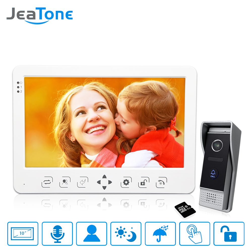 10 Inch Video Door Phone Doorbell Intercom System Touch Key Monitor+1200TVL Call Button+16G Card Motion Detection/Voice Message