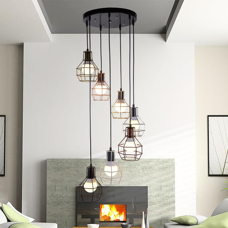 Stairs lights 7HEAD double staircase retro multi pendant ...