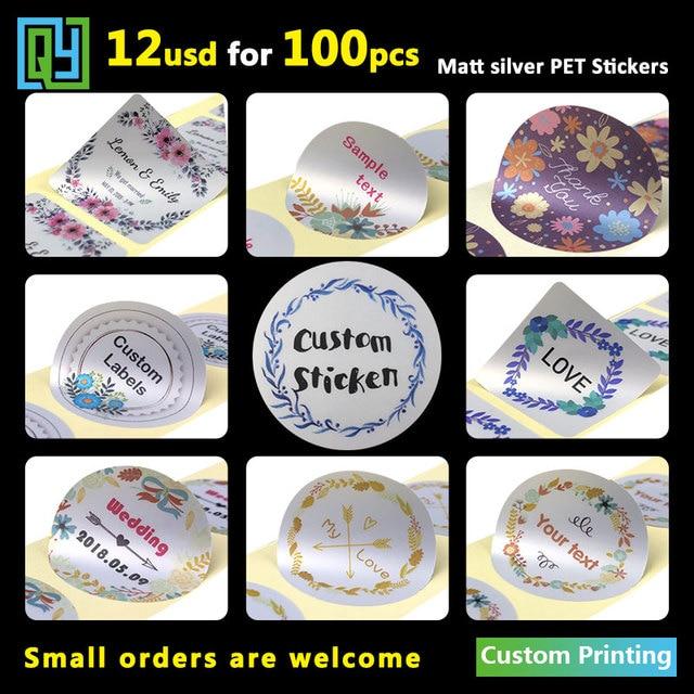 100pcs 35mm Personalized Matt Silver Vinyl Pet Stickers Logo Name