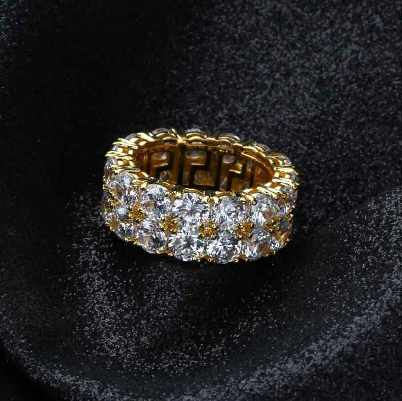 Sparkling cz betonowa złoty kolor Plated pierścień AAA cyrkonia 2 wiersz łańcucha pierścień błyszczące Hip Hop palec serdeczny dla mężczyźni rozmiar 7 8 9 10 11