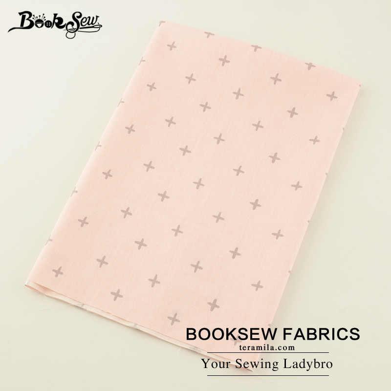 Booksew rosa 100% algodão tecido cruz padrão telas por metro retalhos algodon material para colchas pano tissu vestido bebê crianças