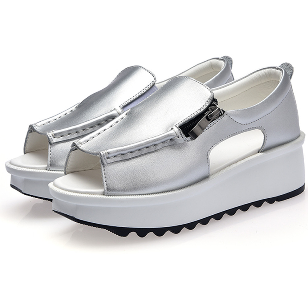 Women Sandals Breathable Platform Open-Toe Zipper Ladies Summer Comfort Walking-Shoes