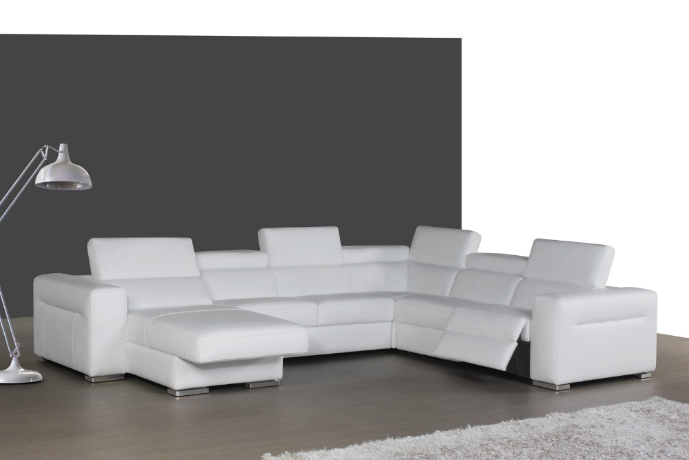 top graded italian genuine leather sofa sectional living room sofa home furniture big size reliner functional headrest U shape european laest designer sofa large size u shaped white leather sofa with led light coffee table living room furniture sofa