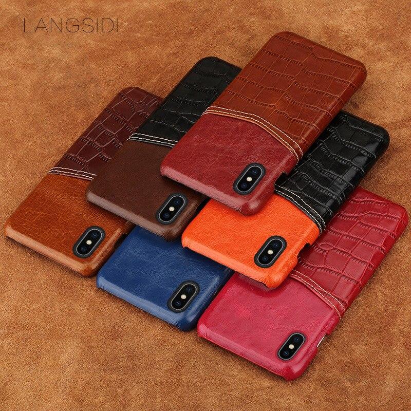 Wangcangli coque de téléphone motif crocodile carte en cuir coque de téléphone pour iphone X coque de téléphone tout à la main traitement personnalisé - 5