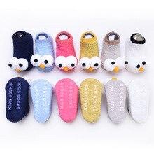 Осень-зима, новые детские носки-тапочки с рисунком Больших Глаз нескользящие носки для малышей 0-1-3 лет, детские носки-лодочки