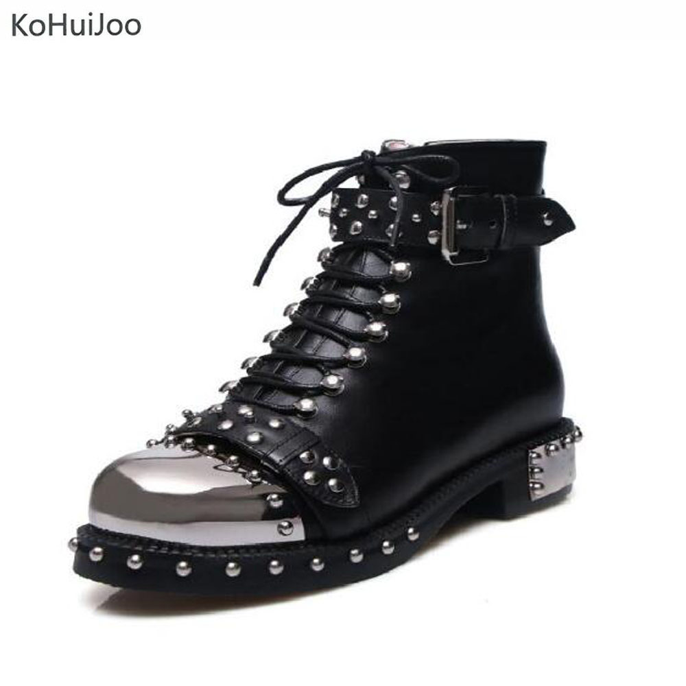 KoHuiJoo 34-43 Big Size Genuine Leather Boots Women Autumn Winter Rivet Fashion Martion Boots Ankle Buckle Motorcycle Shoes недорго, оригинальная цена