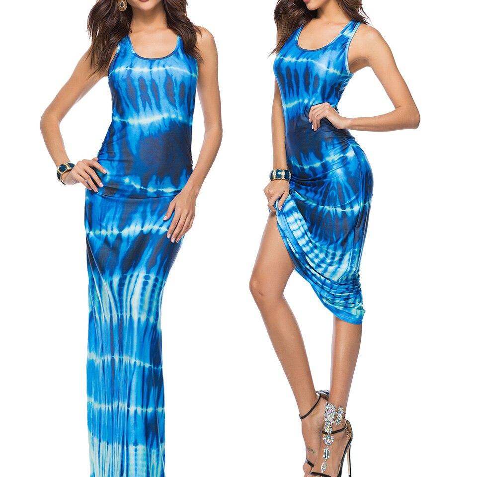 Tie Dye Dress Gradient Color Sukienka Milk Silk Maxi Gown Dress Boho 3xl  Plus Size Dresses For Women 4xl 5xl Robe Femme Ete 2019