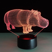 Hippo Figure Luminarias Touch USB 7 Color Changing LED Atmosphere Lamp Gradient Visual Perspective Nightlight Illusion Lamparas