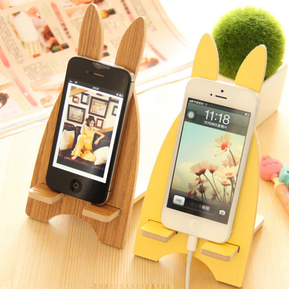 Mobile Phone Stand Paper Holder Charging Bracket Dock Stand Holder Lovely Rabbit Animal Cellphone Socket