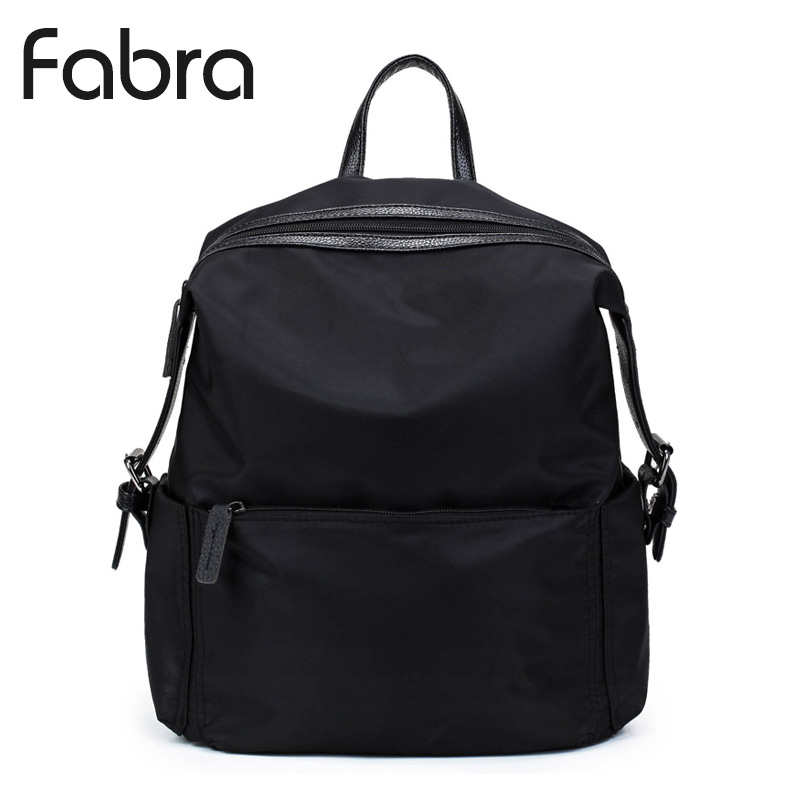 Fabra New Waterproof Nylon Women Backpack Fashion Black Shoulder Back Bag Preppy Style Backpacks for Teenager Girls Daypacks fabra fashion waterproof nylon backpacks women patchwork preppy soft back pack unisex korean japan style school bags wholesale