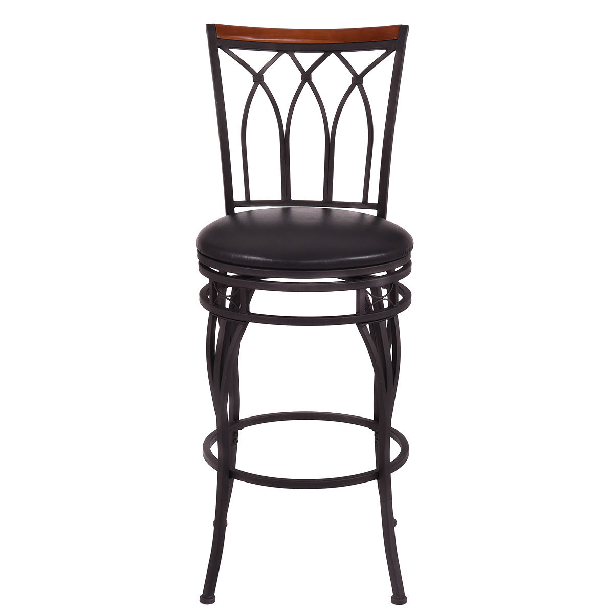 "Giantex Vintage Swivel Bar Stool 24"" 28"" Height Adjustable Padded Seat Bistro Pub Chair HW54180"