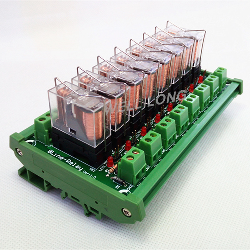 цена на DIN Rail Mount 8 SPDT 16A Power Relay Interface Module,OMRON G2R-1-E DC12V Relay.