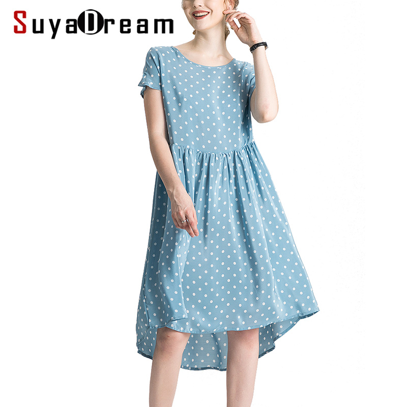 Women Silk Dress 100 Real Silk Crepe Dots Print Holiday Dresses Short Sleeved Knee Length Blue
