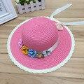 1 unids Joker mujeres del verano del sombrero del sol del arco de la flor exterior entre padres e hijos sombrero de paja playa sombrero para mujeres y chicas 6 colores
