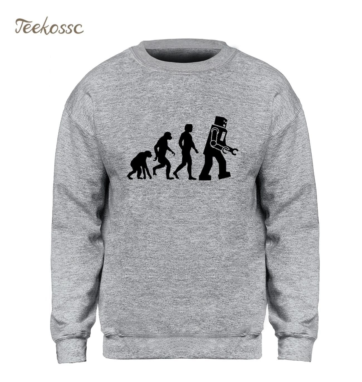 The Big Bang Theory Sweatshirt Men  Robot Evolution Funny Hoodie Crewneck Sweatshirts 2018 Winter Autumn Fleece Warm Streetwear