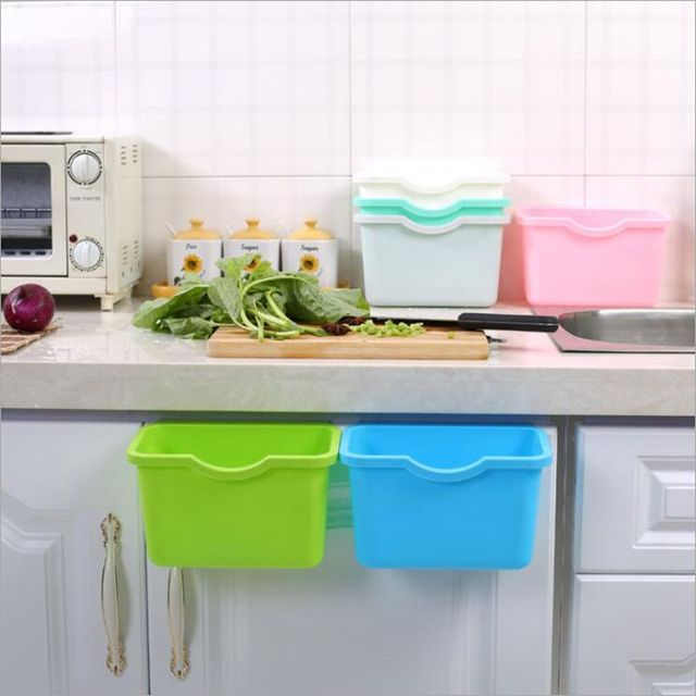 Küche Hängen Müll Storgae Box Hause Schrank Türen Mülleimer Organizer Platz Müll Container Gemüse Lebensmittel Müll Bin