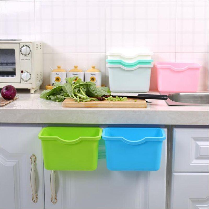 Kitchen Hanging Garbage Storgae Box Home Cabinet Doors Trash Can Organizer Square Rubbish Container Vegetables Food Garbage Bin