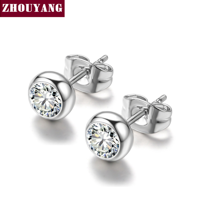 ZYE270 Grace Clear Crystal Silver Color Stud Earrings Jewelry Made with Genuine Austrian Crystal Wholesale