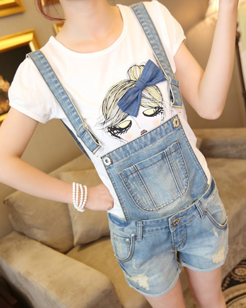 Women Girls Casual Vintage Frayed ripped hole Wash Denim Overall Suspender Jean Pants Cute denim Shorts women casual vintage wash straight leg loose fat girls trousers pants denim overall suspender jeans