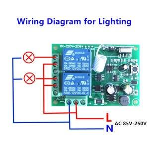 Image 3 - 433 Mhz מתג שלט רחוק אלחוטי אוניברסלי AC 85 V ~ 250 V 110 V 220 V ממסר 2CH מקלט מודול RF 433 Mhz שלט רחוק