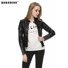 ROKEDISS New Fashion Ladies Motorcycle PU leather Jacket coat vintage hot outwear casual slim brand zipper tops X028