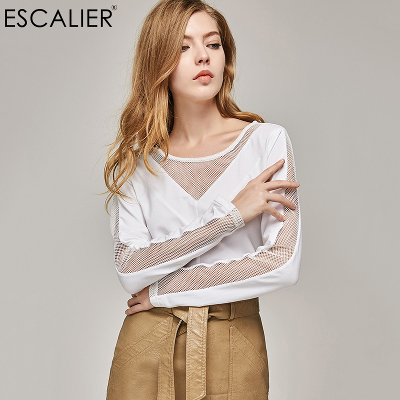 ESCALIER Hollow Out Shirt women Cotton Long Sleeve T-shirts with sexy O-Neck Mesh Design Solid Color Tops