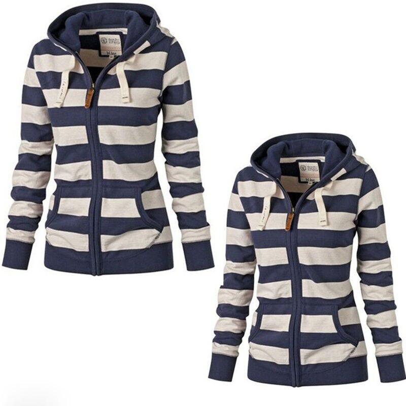 Autumn Women Hoodies mujer clothes Long Sleeve Striped Zippered Hoodie jacket Sweatshirt Jumper Top Zipper Hooded Pullover