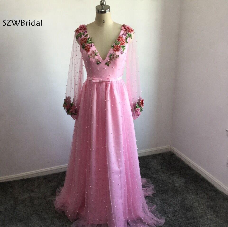 Модное Вечернее Платье abiye с v образным вырезом и длинным рукавом, украшенное бусинами и жемчужинами, красочная вышивка, кафтан, вечернее пла