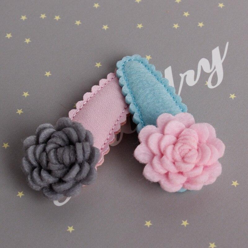 2pcs Children's Flower headdress hair ornaments pink blue Handmade baby side clip newborn hair clip Hair Accessories Hairpin