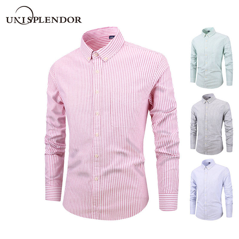 2019 Cotton Oxford Men Shirt Spring Long Sleeve Solid Mens Clothing Autumn Party Business Men Shirts Casual Male Tops