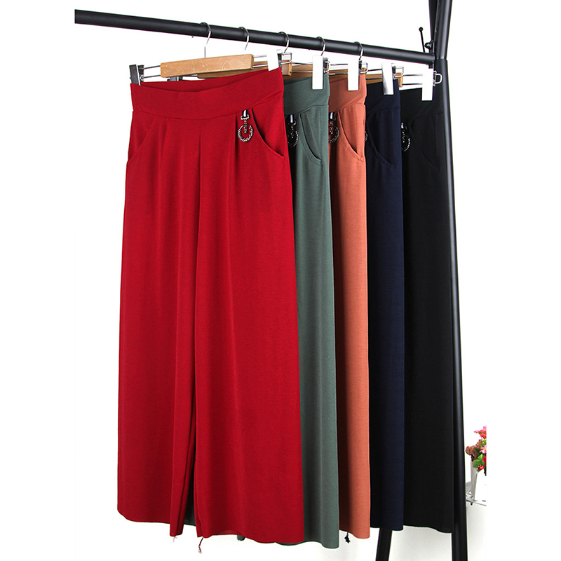 Women's   Pants   Ladies Elastic High Waist   Wide     Leg     Pants   Fashion Summer Flat Pockets Trousers Solid Loose   Pants