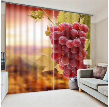 Grape Digital Print 3D Blackout Curtains kids For Living room Bedding room Drapes Cotinas para sala
