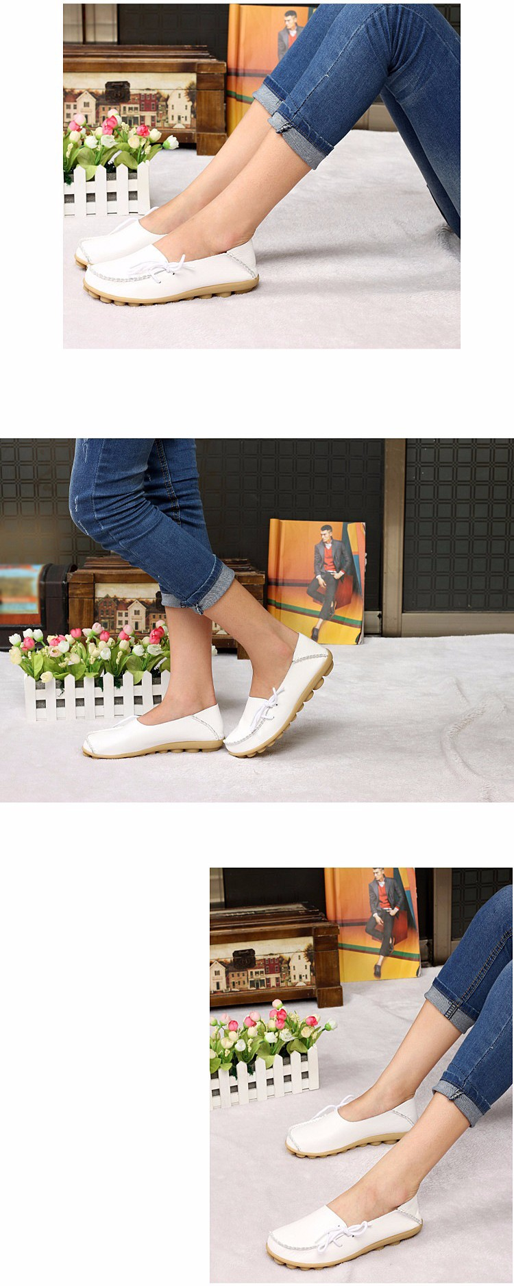 2016 New Real Leather Woman Flats Moccasins Mother Loafers Lacing Female Driving Casual Shoes In 16 Colors Size 34-44 ST179 (9)