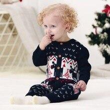 Winter Weihnachten Baby Mädchen Strampler Gestrickte Lustige Onesie Tier Rentier Kleinkind Jungen Overalls New Year's Newborn Kostüm 0-24 Mt
