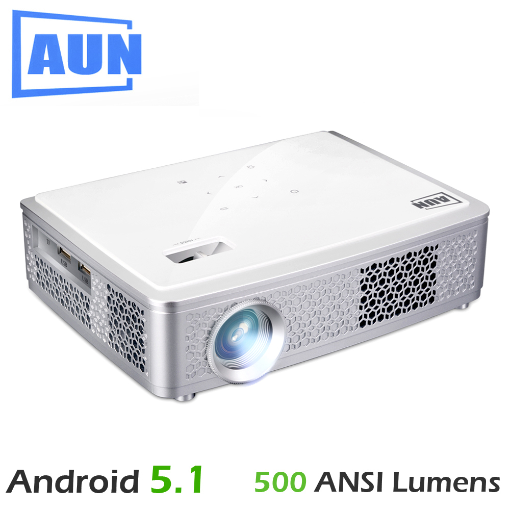 AUN Z4000 LED Projector, 500 ANSI Lumen Set-in Android 5.1 WIFI Bluetooth, 1280x800, Support 1080P Full HD. Free Air Mouse, Bag aun q9 portable projector new technology video projector built in android 5 1 wiif bluetooth 3000 mah battery support 1080p