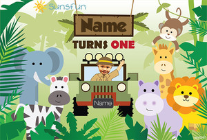Image 4 - Sunsfun custom birthday stage backdrop for Jungle safari Theme party zoo wild background Newborn Baby Animals Photo Boothsxy0247