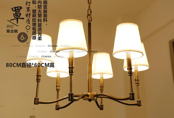 3 / 4 / 6 / 8 Head  American Countryside Bronze Copper Pendant Light Cloth Art Cafe Light Bedroom Lamp Free Shipping