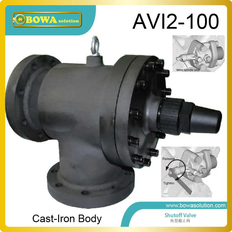Cast-iron angle shutoff valve working as suction valves & discharge valves for semi-hermetic screw compressor for HVAC/R units 1 1 8 piston shutoff valve can be used for all fluorinated refrigerants can replace castel global valves in refrigertion units