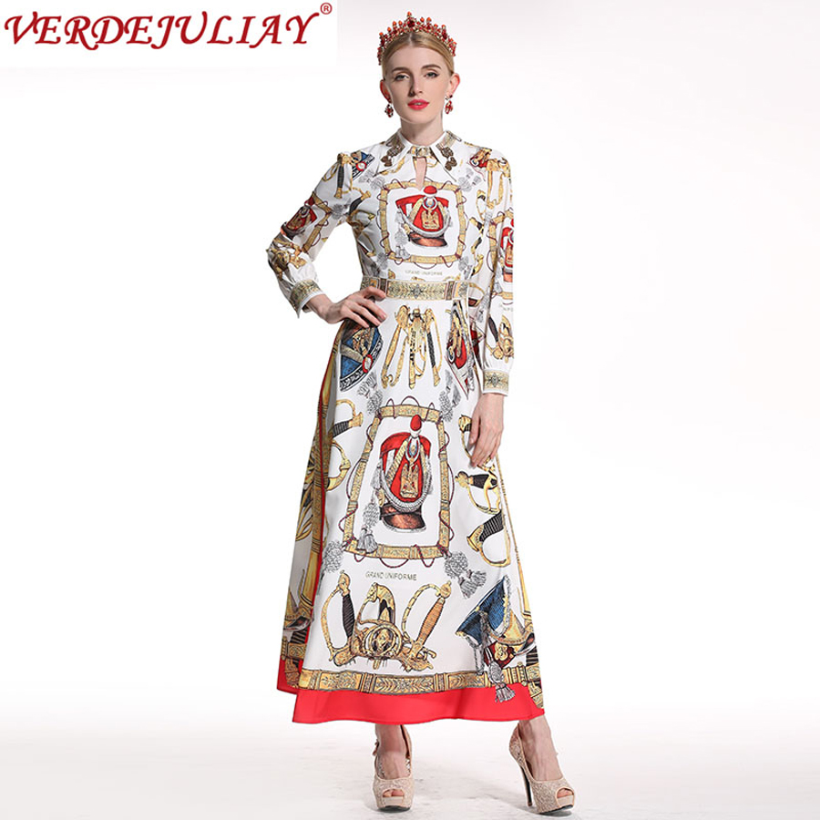 Women Vintage Dresses 2018 Fashion Summer Palace Print Turn down Collar Beading Ankle-Length Long Empire Noble Hot Sale Dress
