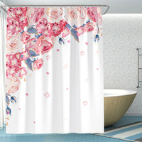 Pink Petals Shower Curtain Waterproof Mildew Polyester Thickened Toilet Partition Curtain Bathroom Curtain with Hooks Home Decor