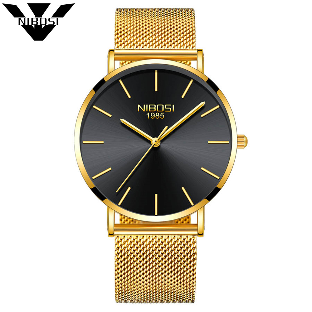 NIBOSI Men's Watches New Luxury Brand Watch Men Fashion Sports quartz-watch Stainless Steel Mesh Strap Ultra Thin Dial Men clock onlyou brand luxury fashion watches women men quartz watch high quality stainless steel wristwatches ladies dress watch 8892