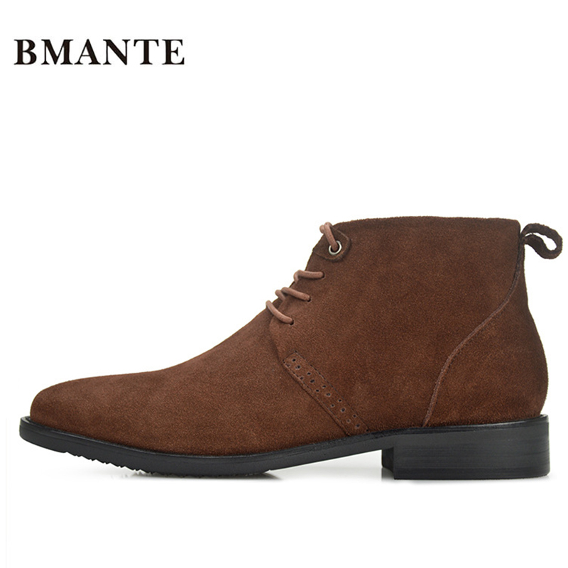 Real Leather Luxury China Designer Casual Brand Male Cow Suede Boot Social Formal chukka Shoe Chelsea